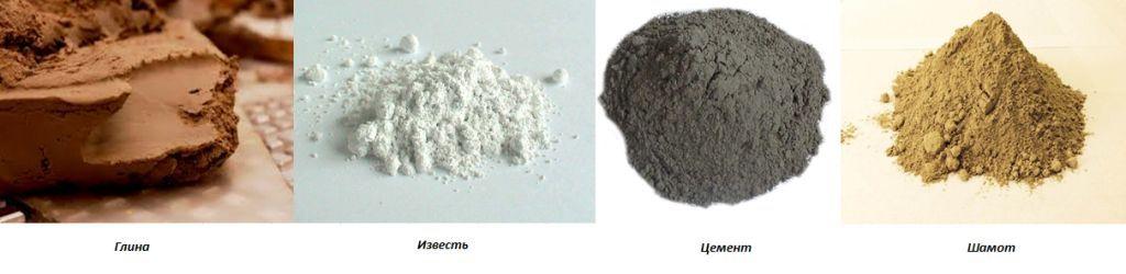 глина, известь, цемент, шамот