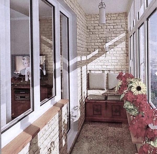 панели пвх под кирпич на балконе