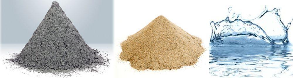 цемент, песок, вода