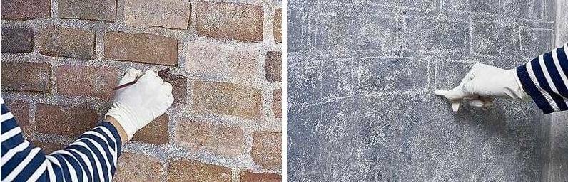 нарисованная имитация кирпича на стене